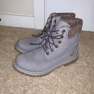 Gray Canvas Timberland Boots